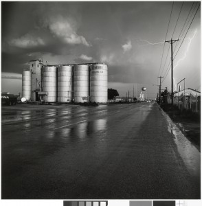Grain elevator and lightning flash, Lamesa, Texas, 1975