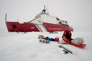 Day 4, April 5: A scientist preparing his gear on the ice. (Credit Chris Linder, Woods Hole Oceanographic Institution)