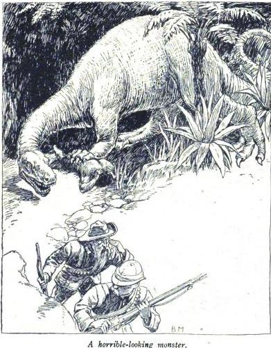 "A dinosaur threatens a duo of English adventurers. From ""The Last Haunt of the Dinosaur"" in The English Illustrated Magazine."