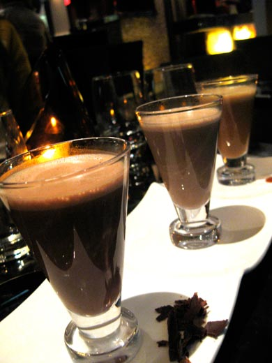 Three flavors of hot cocoa served as a 'flight,' at CoCo Sala restaurant in Washington, DC