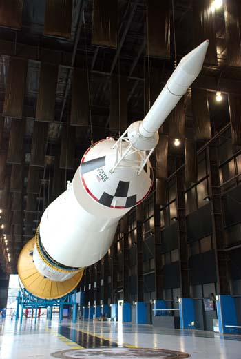 The mighty Saturn V rocket which carried man to the moon is on view at the U.S. Space and Rocket Center in Huntsville, Alabama. Photo courtesy of the Smithsonian Affiliates