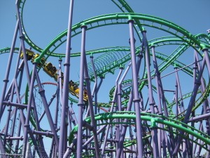 Joker's Jinx, the only induction coaster at Six Flags America.