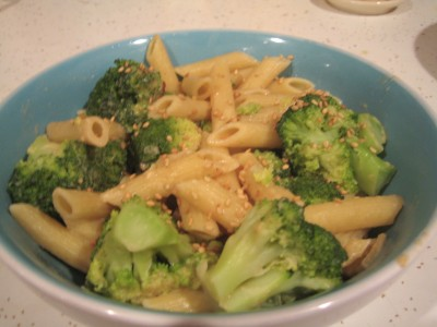 A recipe for sesame-broccoli pasta uses many ingredients commonly found in the fridge. Photograph by Lisa Bramen.