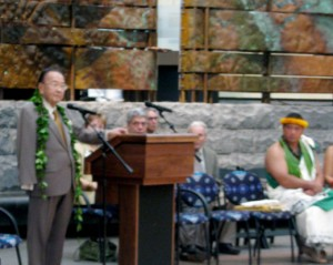 Senator Dan Inouye of Hawaii retraced the history of the National Museum of the American Indian. Photo by Abby Callard.