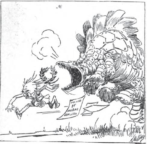 "In a cartoon published in The Survey, ""Professor Theophilus Piffle"" fails to morally persuade ""Jingo"" the Stegosaurus that brains are superior to brawn."