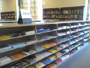 Shelves of science journals at MIT (courtesy of flickr user nic221)