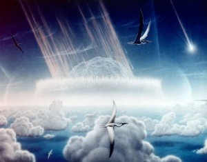 An artist's rendering of the asteroid impact at Chicxulub. From Wikipedia.