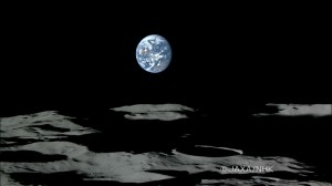 Earth set over the south pole of the Moon, seen from the Kaguya orbiter