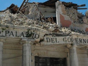 A building destroyed in the L'Aquila earthquake (from flickr user Downing Street)