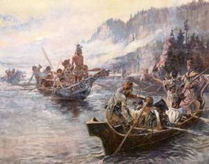 Lewis and Clark on the <i>Lower Columbia by Charles Marion Russell</i>, via Wikimedia Commons