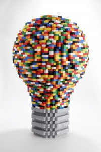 A model of the record-breaking giant LEGO light bulb being built this weekend at the Lemelson Center. Photo courtesy of the Lemelson Center.