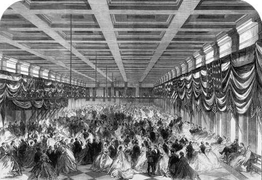 "Lincoln's inaugural ball, March 6, 1865; Illustration from ""Illustrated London News"""