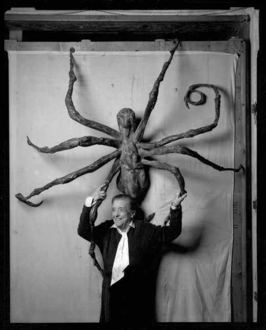 "Aritist Louwise Bourgeois, shown here with her work ""Spider IV"" in 1996, died Monday at age 98. Photo by Peter Bellamy."