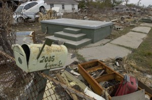 The mailbox in this photograph was all that remained of the Alexander's Lower Ninth Ward home after Hurricane Katrina. The mailbox is currently on display at the National Museum of American History.