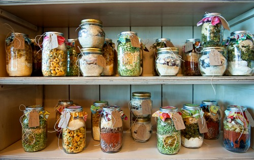 Jars on shelves