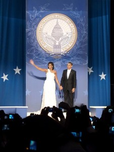 Michelle Obama waves goodbye at an inaugural ball. Courtesy of Flickr user ryanboyd