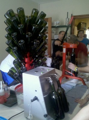 Bottling in progress at the Aspen Peak Cellars micro-winery, housed in the Clifton House Inn in Conifer, CO
