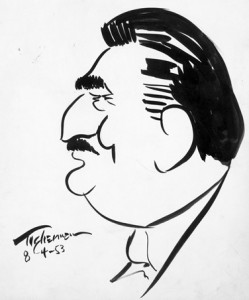 Moses Asch caricature, 1953. Artist unknown. Courtesy of the Moses and Frances Asch Collection, Smithsonian Center for Folklife and Cultural Heritage.