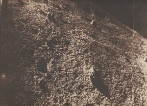 A much happier day: The Soviet Luna 9 lander returned the first image from the moon's surface in February 1966. (Jodrell Bank image)