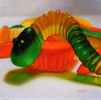 Gummy Worms, oil on canvas by Margaret Morrison, courtesy Woodward Gallery