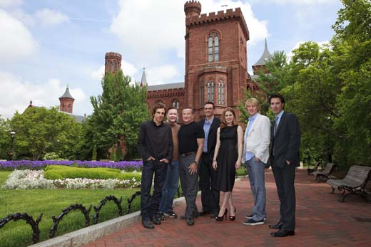 The cast of Night at the Museum: Battle of the Smithsonian visited the Smithsonian Castle and the Haupt Garden on May 15, 2009. Photograph by Ken Rahaim/SI