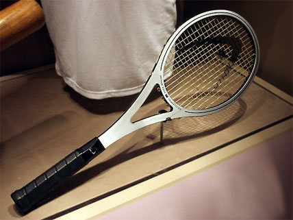 John Isner's racquet will join this circa-1975 head racquet, used by Arthur Ashe at competitions including Wimbledon and the Davis Cup. Photo courtesy of Smithsonian's National Museum of American History.