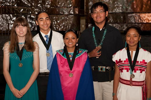 The 2010 YNWEC Winners L-R: Ashley Vance (Chickasaw), Julian Brave Noisecat (Shuswap), Tashina Swalley (Sicangu), Ferguson Nez (Navajo) and Myacah Sampson (Navajo).