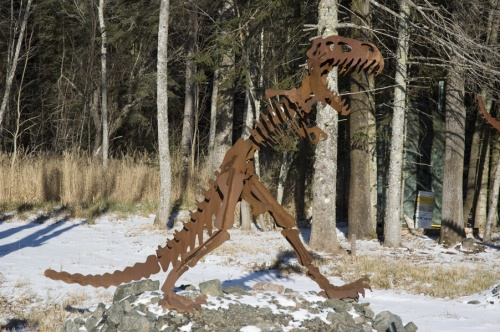 A metal dinosaur sculpture near Duluth, MN. From reader Mark Ryan.