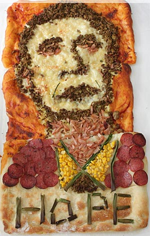 The new president graced a pizza this week - in Australia. Thanks, Lorraine of Not Quite Nigella!