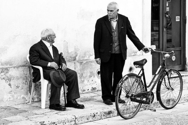 old men and bike