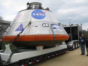 The Orion CEV mockup on the National Mall