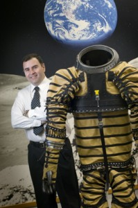 Aerospace engineer Pablo de Leon with NDX-1 space suit. Photo courtesy of NASM, SI