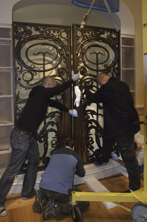 Smithsonian American Art Museum staff install Albert Paley's Portal Gates at the museum's Renwick Gallery. Photo by Gene Young