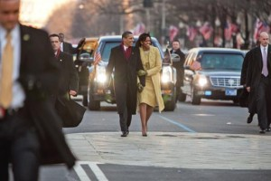 Barack and Michelle Obama on the inauguration parade
