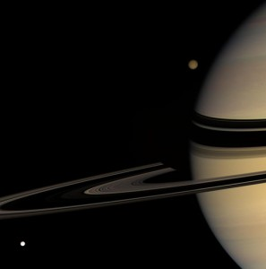 Tethys, Titan and Saturn. Credit: NASA/JPL/Space Science Institute