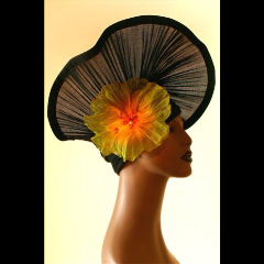 Playgirl Glory, one of Smithsonian Craft show artist Kate Bishop's one-of-a-kind hats. (Courtesy of Kate Bishop.)