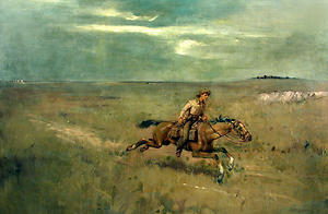 Pony Express Rider possibly by Lloyd Branson. Image courtesy of the Postal Museum.