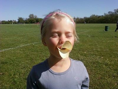 Most kids know Pringles are good for duck impersonation, not just eating. Courtesy Flickr user Jeffisageek