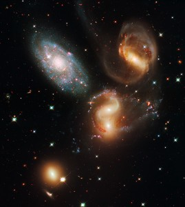 Galactic Wreckage in Stephan's Quintet (Credit: NASA, ESA, and the Hubble SM4 ERO Team)