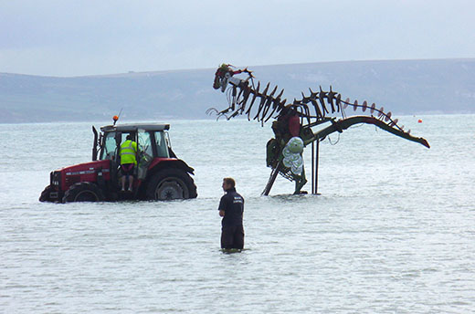 Paul Swaffields dinosaur sculpture was considered a safety risk. Photo by Rex Features / Rex USA