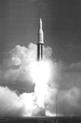 The first Saturn rocket heads for the sky in 1961.