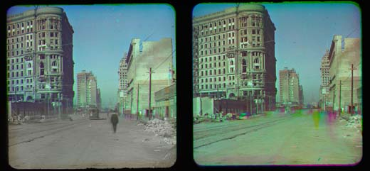 1906 San Francisco earthquake devastation - color photograph of the Flood Building on Market Street