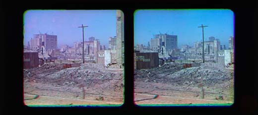 1906 San Francisco earthquake devastation - Color photograph of City Hall