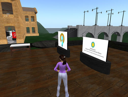 Amanda Murray's avatar, Demanda Batista, walks around the Lemelson Center's space in Second Life, where it hopes visitors can contribute to an upcoming exhibit. Photo courtesy of Amanda Murray.
