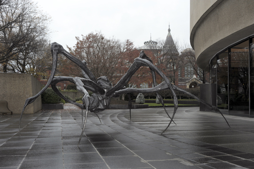 "Bourgeois is well known for her series of large-scale spider sculptures, like this  ""Crouching Spider"" (2003) that stands outside the Hirshhorn Museum and Sculpture Garden. Photo courtesy of the museum."
