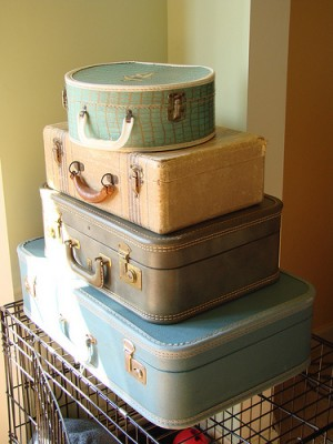 Vintage suitcases, courtesy Flickr user mollypop