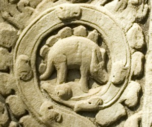 The controversial carving on the Cambodian Temple. From Stupid Dinosaur Lies.