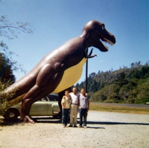 Stephen, his dad, and his brother pose in front of Thunderbeast Park's Tyrannosaurus in this 1958 snapshot.