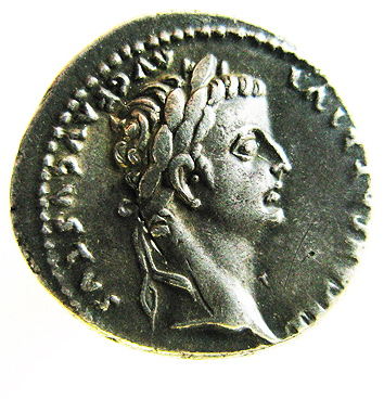 """A Roman denarius with the image of Emperor Tiberius. According to the Gospel of Mark, a tax collector showed Jesus this coin, inspiring, """"Render to Caesar..."""" (Image courtesy of the Smithsonian Instiution.)"""