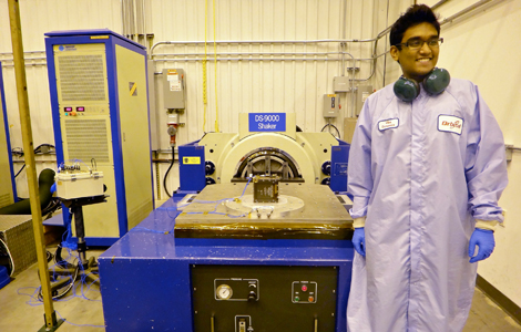 A boy and his cubesat: Asha Punnoose with the TJ3Sat. (Photo: Thomas Jefferson High School)